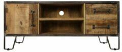HSM Collection TV meubel Hayward - 130x40x55 - naturel/donkergrijs - mangohout/ijzer