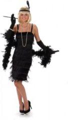Zwarte Karnival Costumes Jaren 20 Danseressen Kostuum | Flegmatieke Flapper Jaren 20 | Vrouw | Medium | Carnaval kostuum | Verkleedkleding