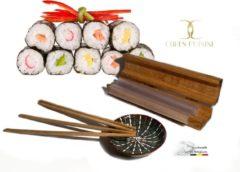Chefs Cuisine sushiroller - Sushi roller Kit- sushi maken - sushi kit - Luxe sushi set - Eikenhout - Incl. 4 Chopsticks & Sauspotje