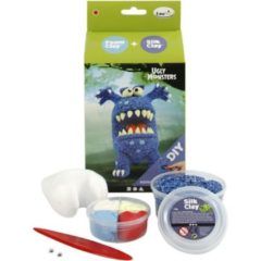 Blauwe Creotime Silk Clay Knutselset Ugly Monsters Blauw 6-delig