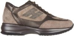 Marrone Hogan Scarpe sneakers donna camoscio interactive h strass