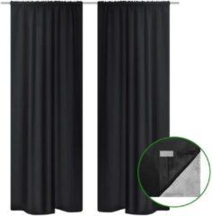 Zwarte VidaXL Blackout - Kant en klaar gordijn dubbele laag - Zwart - 140x245 cm - 2 stuks