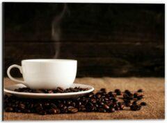 Beige KuijsFotoprint Dibond - Kopje Koffie met Koffiebonen - 40x30cm Foto op Aluminium (Wanddecoratie van metaal)