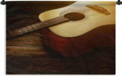 1001Tapestries Wandkleed Akoestische gitaar - Zonnestralen op een akoestische gitaar Wandkleed katoen 120x80 cm - Wandtapijt met foto