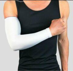 CLIKS Set fiets armwarmers ( 2 stuks ) – Wit - armstukken – cycling arm sleeves – armbeschermers – sport armmouwen - Maat L