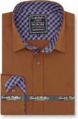 Donkerbruine Gentile Bellini Heren Overhemd - Slim Fit - Ruiten Contrastbeleg - Bruin - Maat XXL