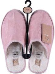 Apollo Roze instap sloffen/pantoffels met bont voor dames - Roze slippers voor dames 39-40