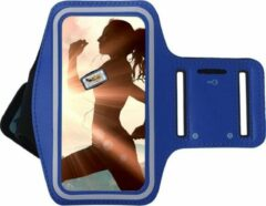 Samsung Galaxy A10 Sportband hoes sport armband hoesje Hardloopband Blauw Pearlycase