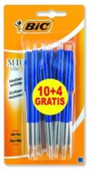 Bic balpen M10 Clic schrijfbreedte 0,4 mm, medium punt, blauw, blister 10+4