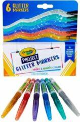 Crayola - Project Lijn - Glitter markers voor kinderen - 6 stuks