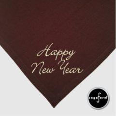 Sagaform linnen tafellaken met servetten, bruin bedrukt met HAPPY NEW YEAR