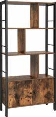 Acaza Boekenkast met 4 open Delen, Kast met stevig stalen frame, industrieel ontwerp, vintage bruin-zwart