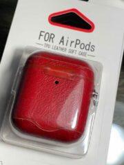 Merkloos / Sans marque Apple Airpods 1/2 Luxe Kunstlederen Hoesje - Donkergroen