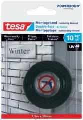 Zwarte 1x Tesa dubbelzijdig montagetape op rol voor baksteen 1,5 meter - Klusmateriaal - Huishoudartikelen - Tesa Powerbond - Waterproof - Montagetape - Dubbelzijdig tape