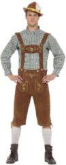 Bruine Smiffys Luxe traditoneel Oktoberfest kostuum met Lederhosen en geruite blouse | Herenmaat L (54/56)