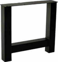 Stalen Interieurs Stalen H Poot   Ongelakt  Koker 80x80   H-onderstel   Industrieel Tafelonderstel