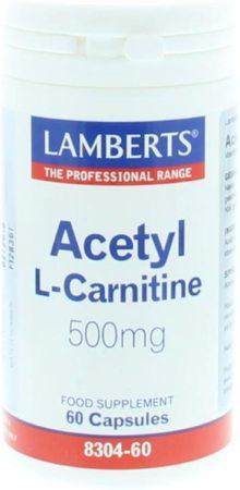 Afbeelding van Lamberts Acetyl l-carnitine 500 mg 60 Capsules