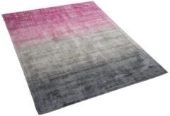 Beliani ERCIS Vloerkleed Roze Kunstzijde 140 x 200 cm
