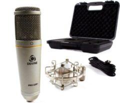 De Devine Pro-USB1 microfoon is ideaal voor diegene die vocalen of instrumenten wenst op te nemen met een enkele microfoon, zonder vast te zitten aan een boel extra randapparatuur. Plug and play, geleverd met shockmount!
