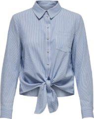 Witte ONLY ONLLECEY LS STRIPE KNOT DNM SHIRT NOOS Dames T-shirt - Maat S