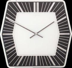 Zwarte NeXtime Hexagon - Klok - Glas - 43x43 cm - Zwart/Wit