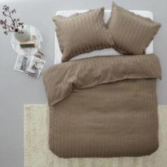 Zandkleurige Papillon Uni Satijn Streep - dekbedovertrek - lits-jumeaux - 240 x 200/220 - Zand
