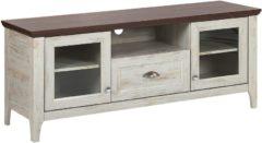 Beliani TV-meubel wit/donkere houtkleur MEDAN