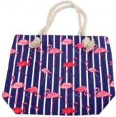 Merkloos / Sans marque Strandtas flamingo print blauw 43 cm - Strandartikelen beach bags/shoppers met ritssluiting