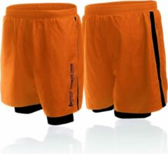 Oranje Boxeur Des Rues Short In Poly With Short Inside To Contr-orange