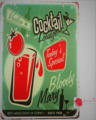 Th Commerce® METALEN RECLAMEBORD WANDBORD MUURPLAAT DECORATIEBORD TEKST VINTAGE NOSTALGIE BORD BAR CAFE COCKTAIL BLOODY MARY 381