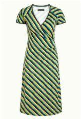 King Louie gestreepte A-lijn jurk Cross groen/geel/blauw