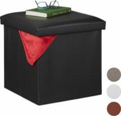 Relaxdays poef met opbergruimte - opbergbox - opbergpoef - voetenbank - opbergkist - 38x38 zwart