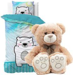 Detexpol Dekbedovertrek 1 persoons, beer 140 x 200 cm, incl. Grote super zachte speelgoed teddybeer knuffel 40 cm lichtbruin, kinderen slaapkamer eenpersoons dekbedovertrek
