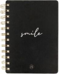 Zusss Decoratieve objecten Notitieboekje Smile Zwart