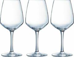 Arcoroc 12x Stuks wijnglazen transparant 500 ml - Wijnglas voor rode wijn op voet