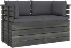 Antraciet-grijze VidaXL Tuinbank 2-zits met kussens pallet massief grenenhout