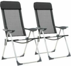 VidaXL Campingstoelen inklapbaar aluminium zwart 2 st