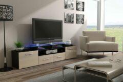 Maxima House EVORA Hoogglans TV Meubel - Inclusief LED - Beige / Wenge Oak - 195cm - Modern Design
