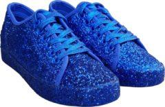CHIAMAX Toppers glitter sneakers, kobalt blauw