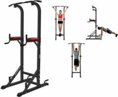 Zwarte ISE SYDNEY SY-5607 Fitness station Pull Up Bar Gewicht trainingsstation Romeinse stoel Multifunctionele optrekstang Bodybuilding apparaat Sport fitnesstraining - Dip Bars - Dip Station - Push Up Grip - Verstelbaar