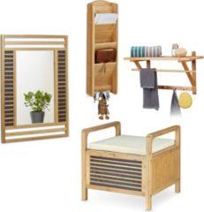 Relaxdays 4 tlg Dielen Set Bambus Sitzhocker Wandspiegel Garderobe Hutablage Wandorganizer