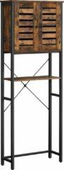 VASAGLE - Badkamerkast- badkamerrek met stalen frame- 60 x 24 x 169,5 cm, vintage bruin-zwart-eenvoudige montage-industrieel design-badkamerkasten hoog-kolomkast badkamer-badkamerkast staand-Wc rek