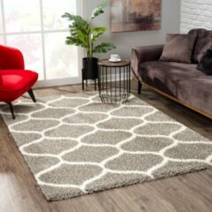 Impression Madrid Shaggy Design Vloerkleed Grijs Hoogpolig- 200x290 CM