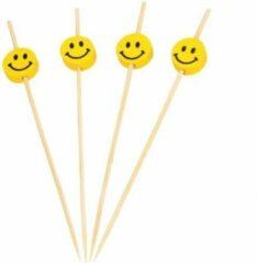 Cosy&Trendy 300x stuks Smileys/Emoticons thema cocktailprikkers 12 cm - Kinder traktaties - kaasprikkers/hapjesprikkertjes