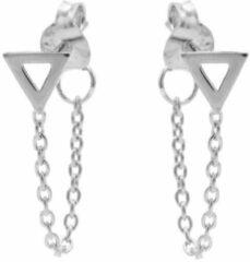 Karma Jewelry Karma Oorbellen Chain Open Triangle Zilver