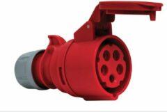 Mete - CEE female 5 polig 6H 16A IP44 kracht - rood - stekker 380-415VAC
