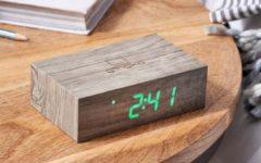 """Grijze Gingko Wekker - Alarmklok Flip Click Clock """"Ash"""" - oplaadbaar"""