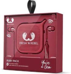 Fresh n Rebel Fresh 'n Rebel - Vibe Wireless in ear Koptelefoon + Pebble Bluetooth Speaker Gift Pack - Rood