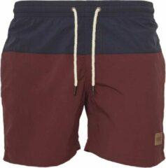 Bordeauxrode Urban Classics Zwem shorts -S- Block Bordeaux rood/Blauw