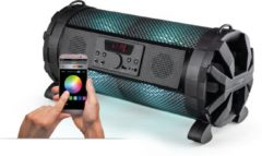Zwarte Caliber Party Speaker |HPG419BTL |FM USB SD |App Controlled|karaoke | led verlichting